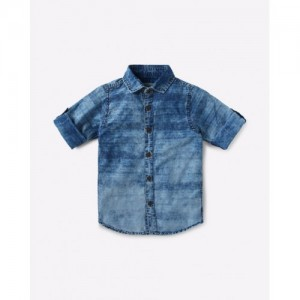 AJIO Denim Shirt with Roll-Tab Sleeves
