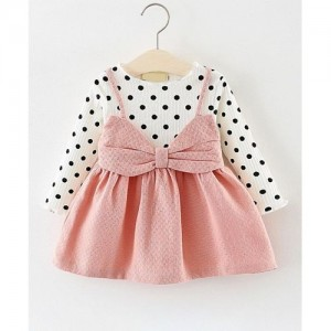 Pink  Polka Dot Print Long Sleeved Dress