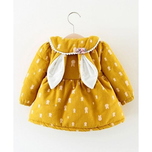 Pre Order - Awabox Bunny Printed Long Sleeves Dress - Yellow