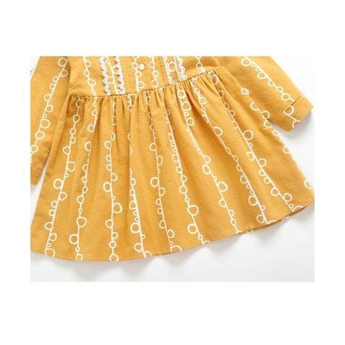 Pre Order - Awabox Mandarin Collar Full Sleeves Dress - Yellow