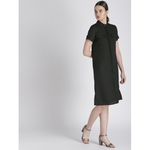 Chemistry Women Black Solid Shirt Dress