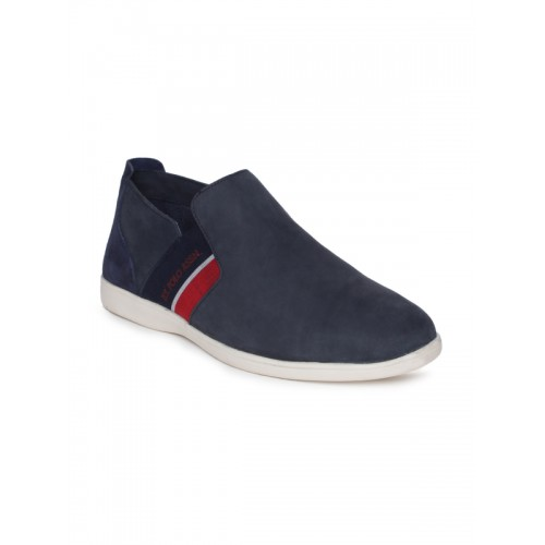 U.S. Polo Assn. Men Navy Blue Solid ABACO Leather Slip-On Sneakers