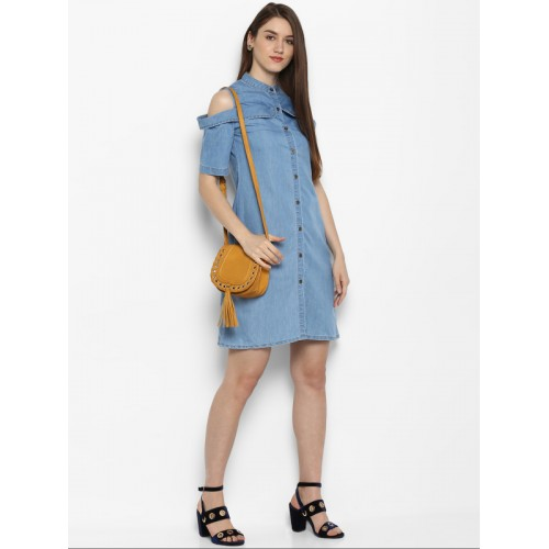 StyleStone Women Blue Solid Denim Shirt Dress