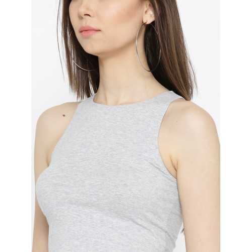 FOREVER 21 Women Grey Solid Crop Top