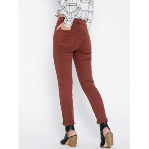 5a4b350e Buy FOREVER 21 Women Brick Red High-Rise Skinny Casual Trousers ...
