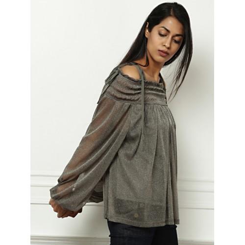all about you from Deepika Padukone Women Grey Solid Semi-Sheer Bardot Top