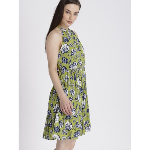 Chemistry Women Green Printed Fit and Flare Dress