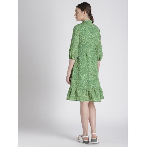 Chemistry Women Green Floral Printed Shirt Dress