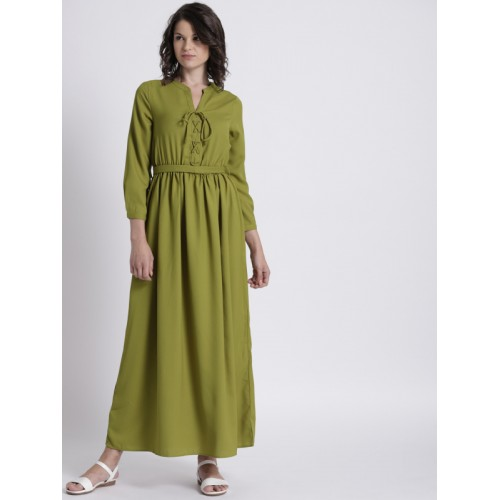 Chemistry Women Green Solid Cinched Waist Maxi Dress