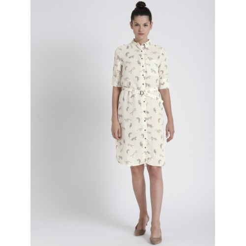 Chemistry Off-White Printed Shirt Dress