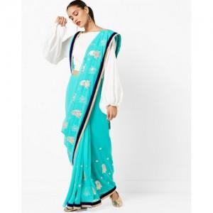 CHHABRA 555 Woven Chiffon Saree with Contrast Border