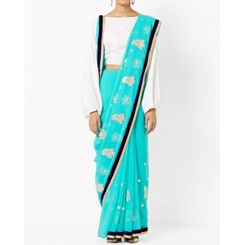 CHHABRA 555 Woven Chiffon Saree with Contrast Border