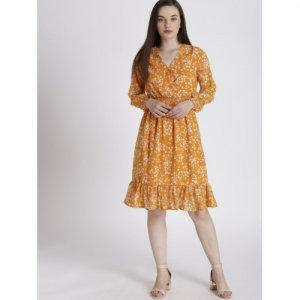Chemistry Women Orange Printed Fit and Flare Dress