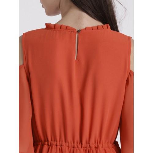Chemistry Women Orange Solid Maxi Cold-Shoulder Dress