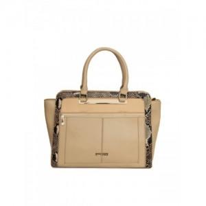 Addons Beige Solid Handheld Bag