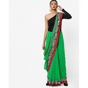 Florence Woven Saree with Contrast Embroidered Border