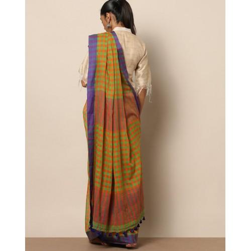 Indie Picks Bengal Handloom Cotton Checked Saree
