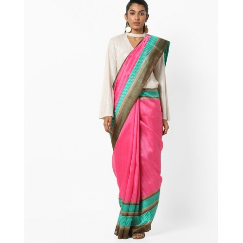 33d6db70c60e8b Buy Ishaya Bhagalpuri Art Silk Saree with Contrast Border online ...