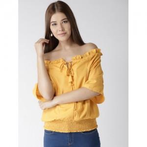 Style Quotient Women Mustard Yellow Solid Bardot Top