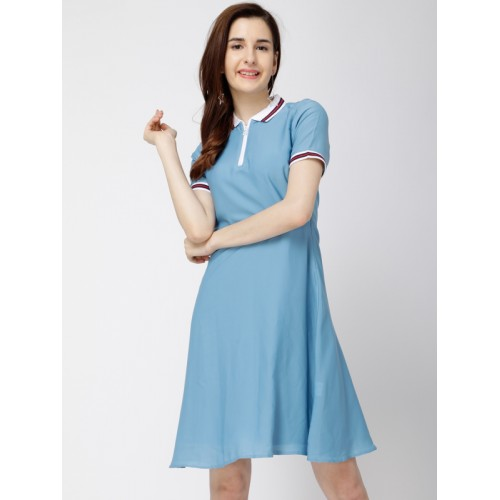 c320c39200e Buy Tokyo Talkies Women Blue Solid Fit and Flare Dress online ...