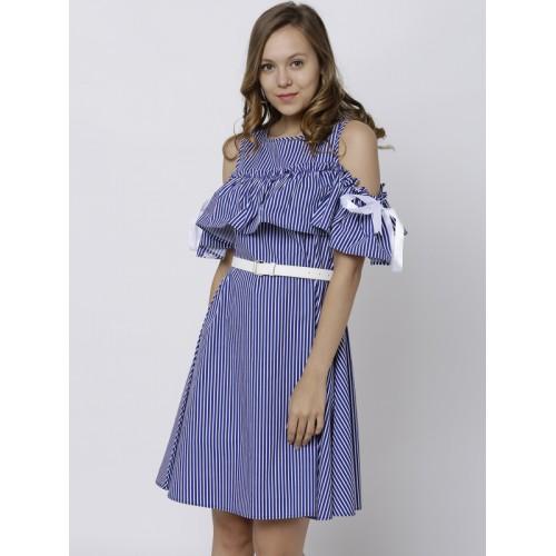 4377c94442b Buy Tokyo Talkies Women Blue Striped A-Line Cold Shoulder Dress ...