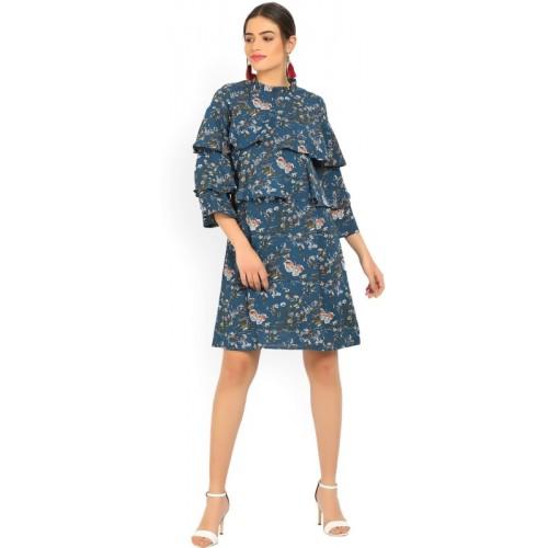 4116c1e6b Buy Tokyo Talkies Women s Layered Dark Blue Dress online