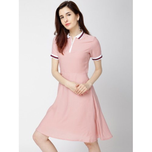 1af9a6d83ac Buy Tokyo Talkies Women Pink Solid Fit and Flare Dress online ...