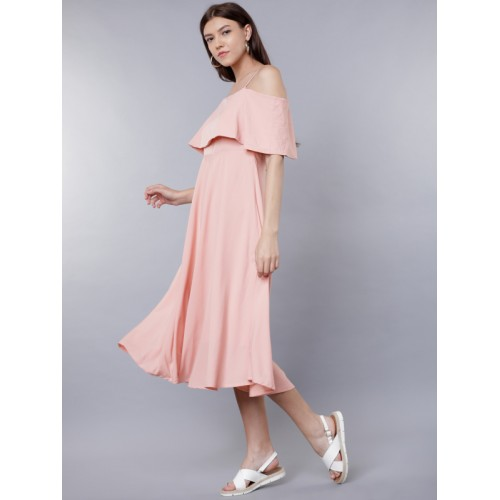 Tokyo Talkies Women Pink Solid Fit and Flare Dress