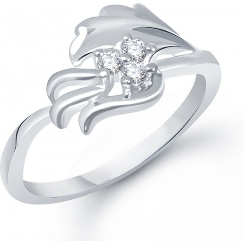 VK Jewels Leafy Moments Alloy Cubic Zirconia Rhodium Plated Ring