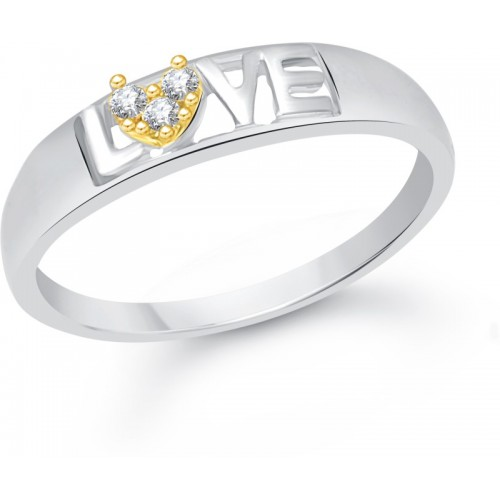 VK Jewels Love Alloy Cubic Zirconia Gold-plated Plated Ring