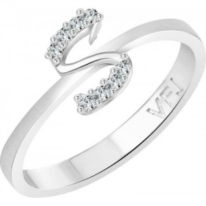 Vighnaharta initial ''S'' Alphabet Alloy Cubic Zirconia Gold-plated Plated Ring