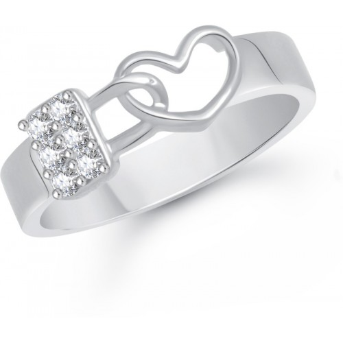 VK Jewels Love Lock Alloy Cubic Zirconia Rhodium Plated Ring
