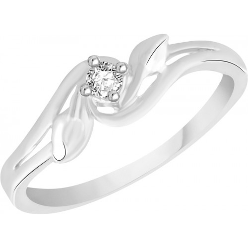 VK Jewels Single Stone Alloy Cubic Zirconia Rhodium Plated Ring