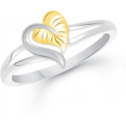 Divastri Leaf Heart Alloy Gold-plated Plated Ring