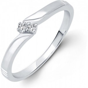 Vighnaharta Simply Alloy Cubic Zirconia 18K White Gold Plated Ring