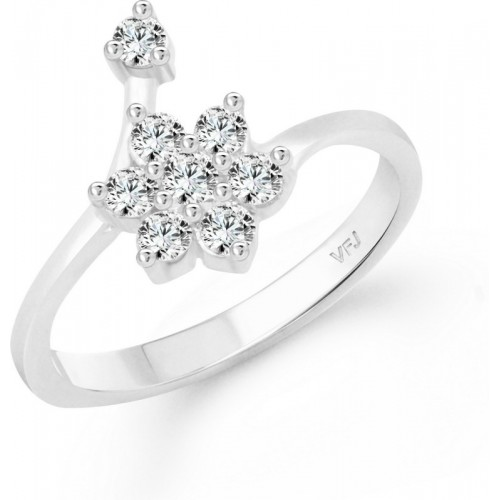 Vighnaharta Decent Flower Alloy Cubic Zirconia Gold-plated Plated Ring