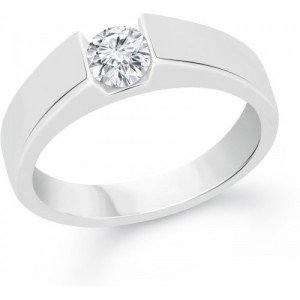 VK Jewels Solitaire Alloy Cubic Zirconia Rhodium Plated Ring