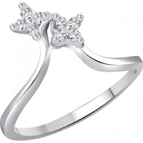 Vighnaharta Finger Shine Alloy Cubic Zirconia 18K White Gold Plated Ring