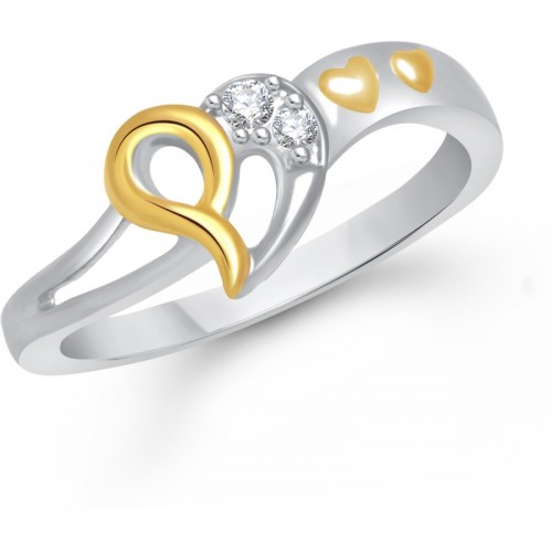 VK Jewels Three Heart Alloy Cubic Zirconia Gold-plated Plated Ring