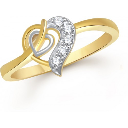 VK Jewels Valentine Heart Alloy Cubic Zirconia Gold-plated Plated Ring