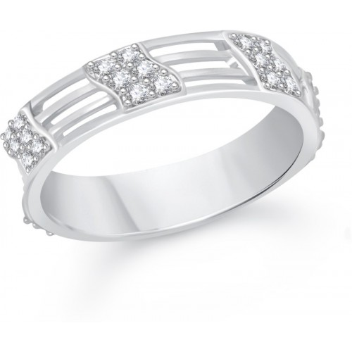 VK Jewels Reticular Alloy Cubic Zirconia Rhodium Plated Ring