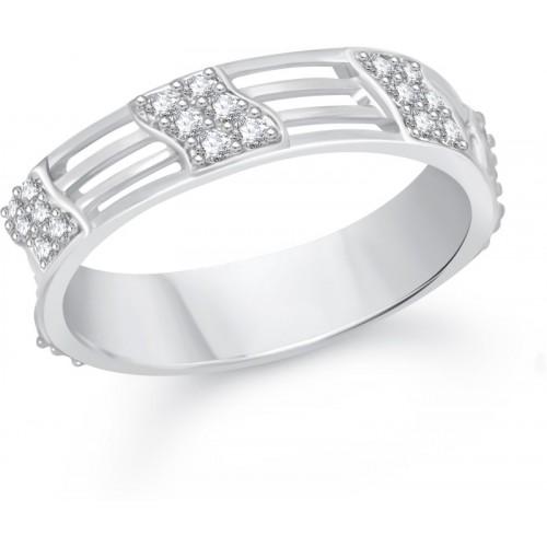 VK Jewels Reticular Alloy Cubic Zirconia Rhodium Plated Ring