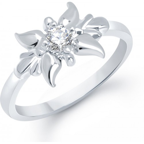VK Jewels Lily Flower Alloy Cubic Zirconia Rhodium Plated Ring
