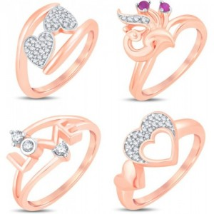 Sukkhi Valentine Collection Modish Alloy Cubic Zirconia Gold-plated Plated Ring Set