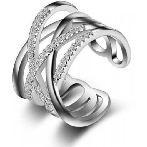 7dda2151bfa32c MYKI Simply Gorgeous Criss-Cross Beautiful Zircon Adjustable Ring For Women    Girls Stainless Steel