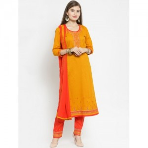Kvsfab Mustard Yellow & Red Cotton Blend Unstitched Dress Material