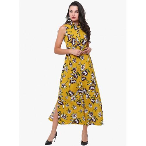 Tokyo Talkies Yellow Coloured Printed Maxi Dress