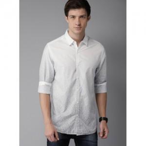 Moda Rapido White & Navy Blue Printed Casual Shirt