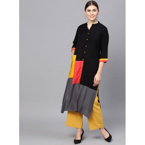 Shree Black & Grey Colourblocked Straight Kurta