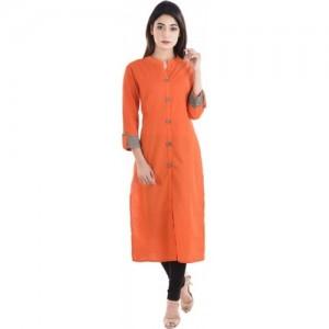 Stylum Women Solid Straight Kurta(Orange)